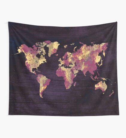 world map 86 red yellow Wall Tapestry