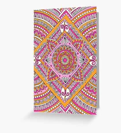 Pink & Tangerine Diamond Mandala  Greeting Card