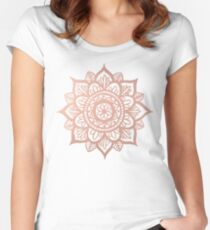 New Rose Gold Mandala Women's Fitted Scoop T-Shirt