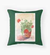 My Geranium would like to see you... Throw Pillow