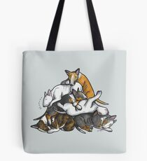 Sleeping Pile of Bull Terriers Tote Bag