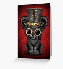 Steampunk Black Panther Cub on Red Greeting Card