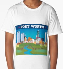 Fort Worth, Texas - Collage Illustration by Loose Petals Long T-Shirt