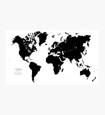 Black & White World Map Photographic Print