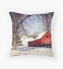 PRETTY RED BARN IN WINTER Throw Pillow