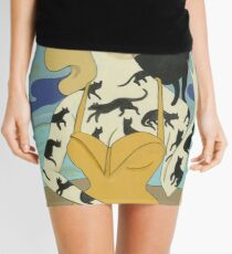 Black Cat Tattooed Lady Mini Skirt