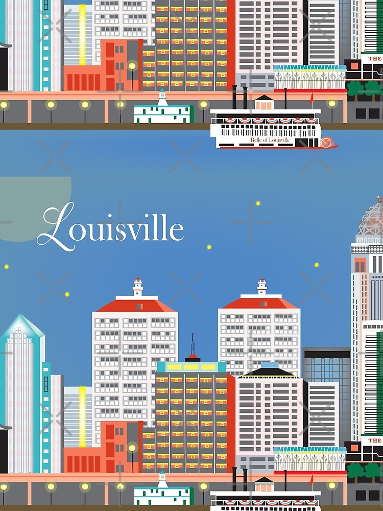 Louisville, Kentucky - Skyline-Illustration durch lose Blumenblätter von LoosePetals