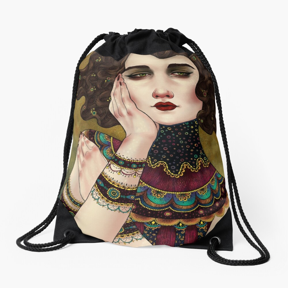 Klimt Muses 5 Drawstring Bag