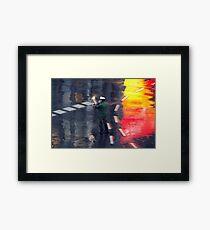 Policeman in the rain  Framed Print