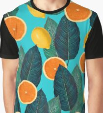 Lemons And Oranges On Teal Graphic T-Shirt