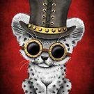 Steampunk Snow Leopard Cub auf Rot von jeff bartels