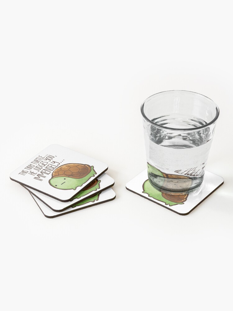 Alternate view of This turtle.. he judges you. Coasters (Set of 4)
