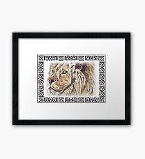 Lodge décor - African lion Framed Print