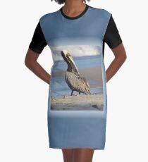 Oceanside Portrait of a Pelican Graphic T-Shirt Dress