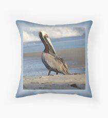 Oceanside Portrait of a Pelican Throw Pillow