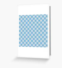 Azure Blue Faux Textile Gingham Stripes Pattern Greeting Card
