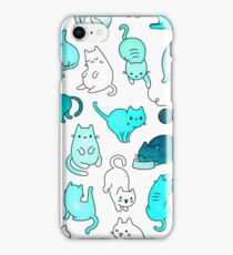 Space Cats - Turquoise Blue Green Kitty Pattern iPhone Case/Skin