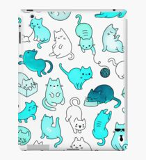 Space Cats - Turquoise Blue Green Kitty Pattern iPad Case/Skin