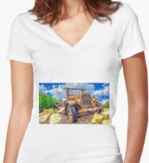 Dodge on the Rocks Women's Fitted V-Neck T-Shirt