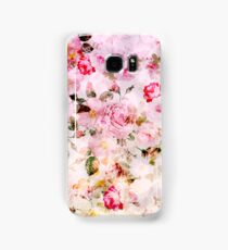 Vintage pink pastel watercolor floral pattern Samsung Galaxy Case/Skin