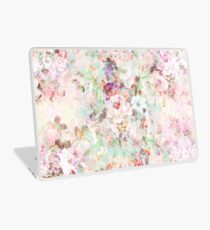Rosa Aquarell Vintage Blumen Muster Laptop Folie