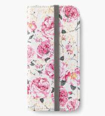 Modern vintage pink black roses floral pattern iPhone Wallet/Case/Skin