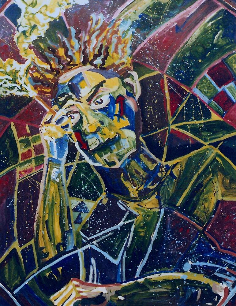 Anxiety Self-portrait (Mixed Media)- by Robert Dye