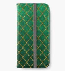 Chic Green Gold Trendy Quatrefoil Glitter Print  iPhone Wallet/Case/Skin