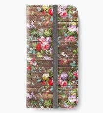 Blumen-rustikales braunes Holz der eleganten rosa Rosen iPhone Flip-Case/Hülle/Klebefolie