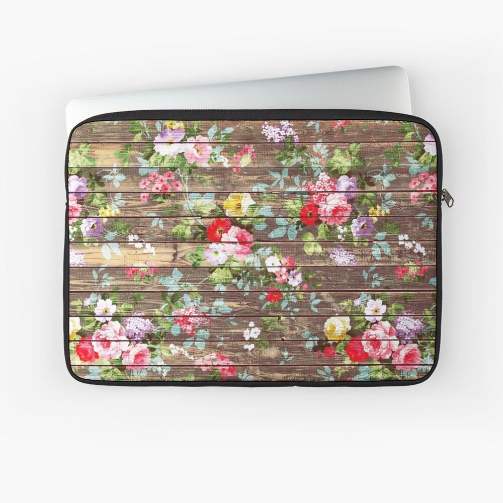 Blumen-rustikales braunes Holz der eleganten rosa Rosen Laptoptasche
