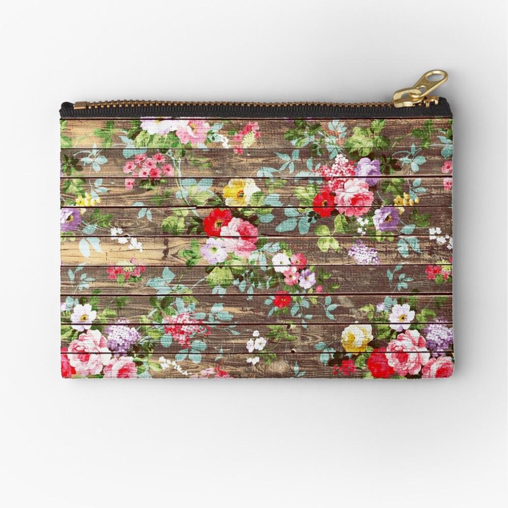 Blumen-rustikales braunes Holz der eleganten rosa Rosen Täschchen
