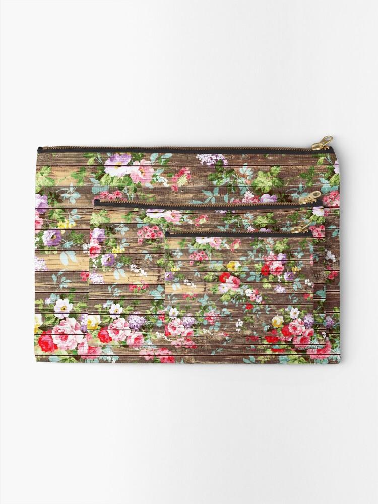 Alternative Ansicht von Blumen-rustikales braunes Holz der eleganten rosa Rosen Täschchen