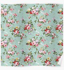 Chic elegant pink roses beautiful flowers pattern Poster