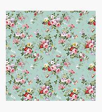 Chic elegant pink roses beautiful flowers pattern Photographic Print
