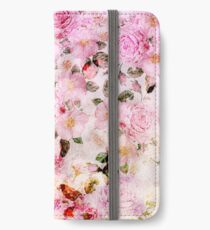 Chic girly pink watercolor vintage floral pattern iPhone Wallet/Case/Skin
