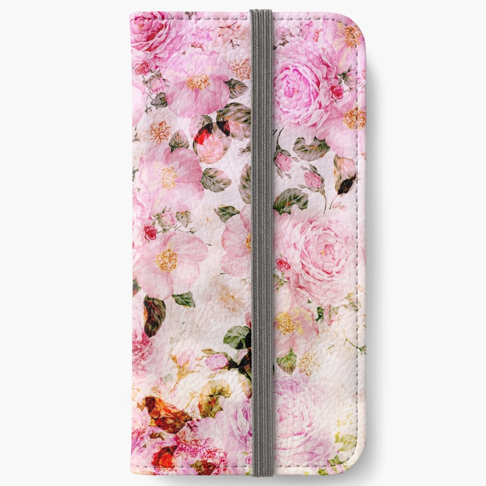 Chic Girly Pink Watercolor Vintage Floral Pattern Iphone Wallet