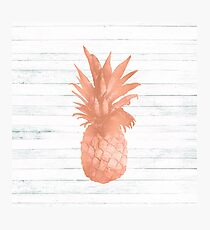 Rose Gold Pineapple on Wood Nautical Decor Photographic Print