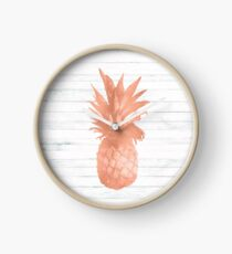 Rose Gold Pineapple on Wood Nautical Decor Clock