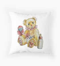 New Baby Girl Teddy Bear Throw Pillow