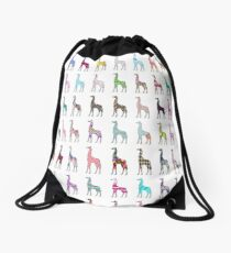 Whimsical pink floral chevron giraffe pattern Drawstring Bag
