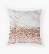 Warm chromatic - rose gold marble Throw Pillow