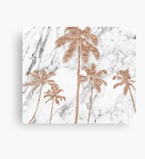 Rose gold marble palms Canvas Print