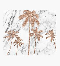 Rose gold marble palms Photographic Print