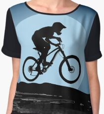 Silhouette of the cyclist riding down the slope  Women's Chiffon Top