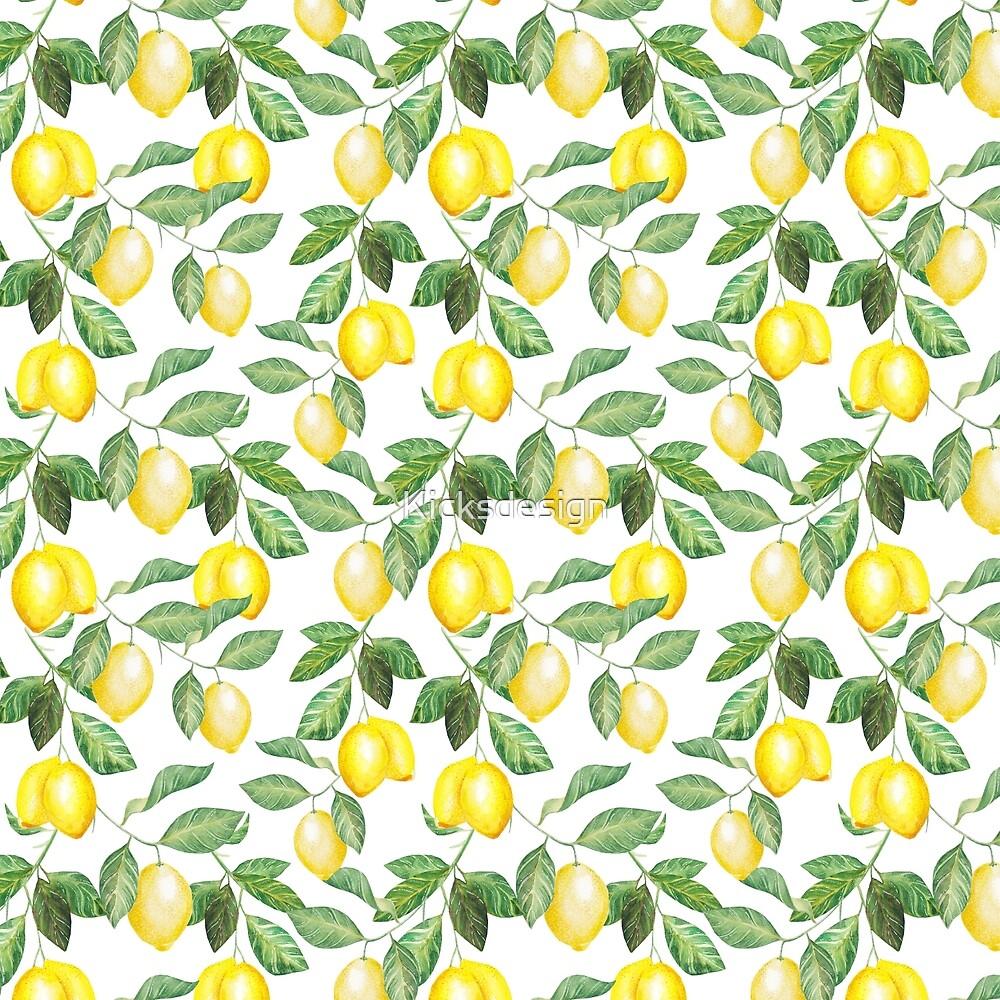 Modern green yellow watercolor lemon summer fruit by Kicksdesign