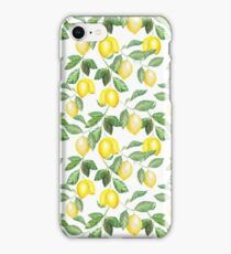Modern green yellow watercolor lemon summer fruit iPhone Case/Skin