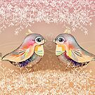 Exotic Peach Lovebirds by © Karin Taylor