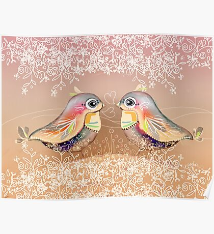 Exotic Peach Lovebirds Poster