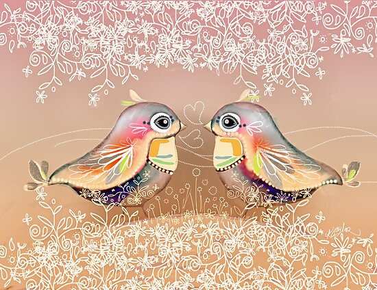 Exotic Peach Lovebirds by Karin Taylor