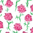 Peony Scatter on White by inkandstardust
